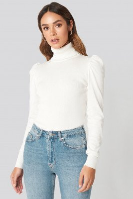 Hanna Weig x NA-KD Hanna Weig x NA-KD High Neck Puffy Shoulder Sweater - White
