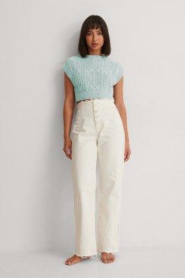 Trendyol Trendyol Jeans Met Hoge Taille En Wijde Pijpen - White