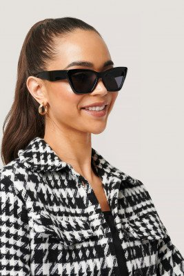 NA-KD Accessories Pointy Squared Cateye Sunglasses - Black