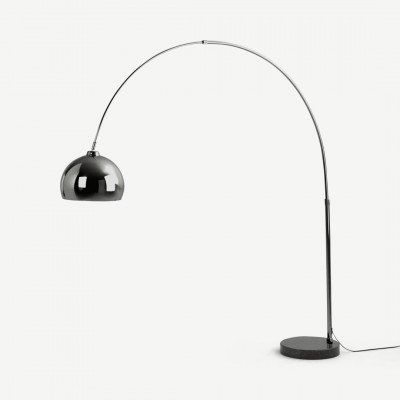 MADE.COM Bow grote staande booglamp, zwart nikkel en marmer