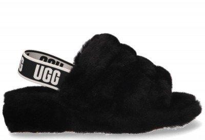 UGG UGG Fluff Yeah Logo Slide Zwart Damessandalen
