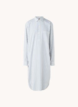 TEKLA TEKLA Nachthemd met streepprint van biologisch katoen
