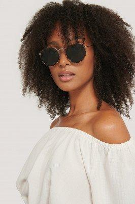 Corlin Eyewear Corlin Eyewear Zonnebril Met Rond Metalen Frame - Brown