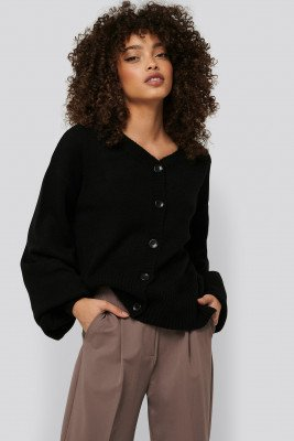 NA-KD Short Chunky Knit Cardigan - Black