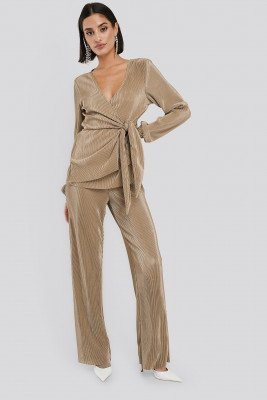 NA-KD Party NA-KD Party Wide Pleated Trousers - Beige