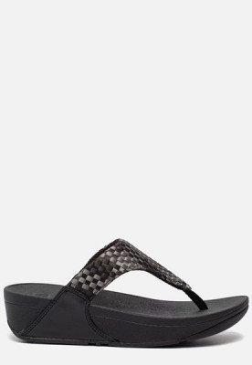 FitFlop FitFlop Lulu Silky Weave Toe-Post slippers zwart