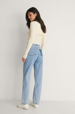 NA-KD Trend NA-KD Trend Jeans Met Contrasterende Zakken En Hoge Taille - Blue