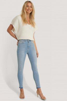 NA-KD NA-KD Skinny High Waist Open Hem Jeans - Blue
