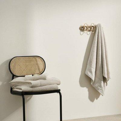 MADE.COM Narinda set van 2 handdoeken, katoen en linnenmix, papyrus