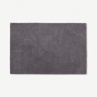 MADE.COM Hayden wollen vloerkleed, 200 x 300 cm, grijs