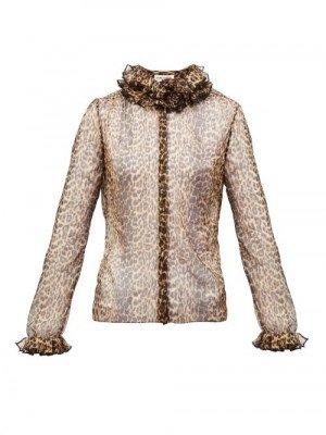 Matchesfashion Saint Laurent - Ruffled Leopard-print Silk-chiffon Blouse - Womens - Leopard