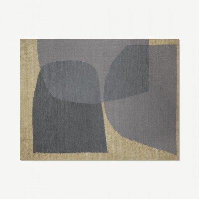 MADE.COM Casaco vloerkleed van jute en wolmix, groot, 160 x 230 cm, indigoblauw