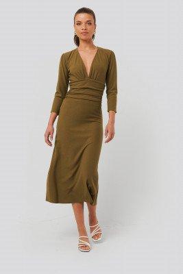NA-KD NA-KD Deep V Waist Detail Dress - Beige
