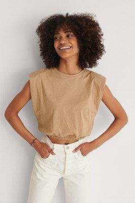 Trendyol Trendyol T-Shirt Met Schoudervullingen - Beige
