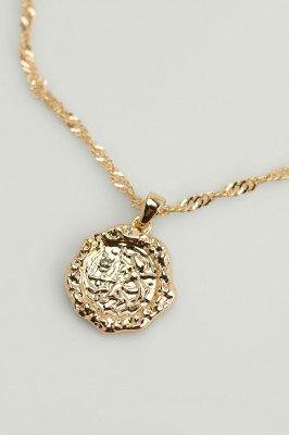 NA-KD Accessories NA-KD Accessories Gerecyclede ketting met munt en dierenriemteken - Gold