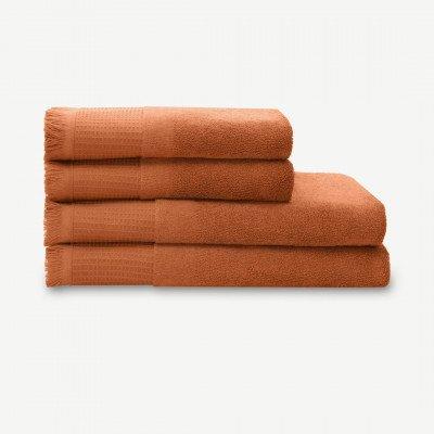 MADE.COM Eren set van 4 wafelhanddoeken met franjes gebrand oranje