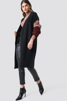 NA-KD Trend NA-KD Trend Color Blocked Knitted Cardigan - Black,Multicolor