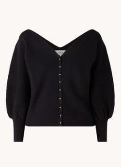 BAenSH ba&sh Hazel ribgebreid vest met pofmouw en knoopdetail