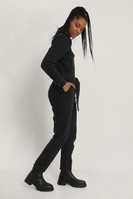 NA-KD Trend NA-KD Trend Jeansjumpsuit Met Ritsdetail - Black