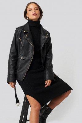 Donnaromina x NA-KD Donnaromina x NA-KD Oversized Detail Faux Leather Jacket - Black