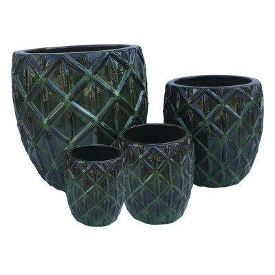 Ptmd jacy groen geglazuurde keramieke pot diamant