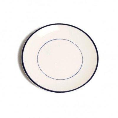 DilleenKamille Bord ontbijt'Rand', aardewerk, donkerblauw,Ø 22 cm