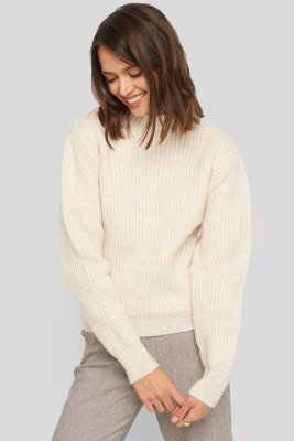 NA-KD NA-KD High Neck Ribbed Knitted Sweater - White