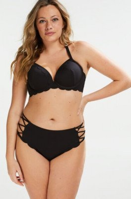 Hunkemöller Hunkemöller Hoog Brazilian bikinibroekje Scallop Goddess Zwart