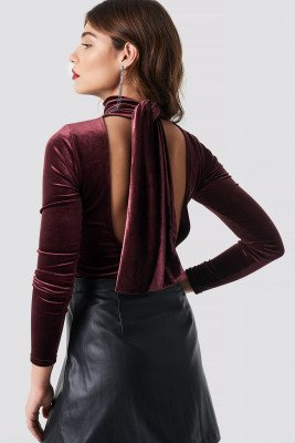 NA-KD Party Deep Back Velvet Top - Red