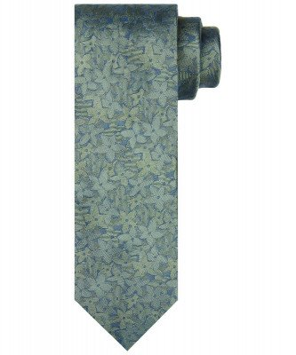 Profuomo Profuomo heren groene bloemenprint stropdas