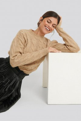NA-KD Trend Regular Cable Knitted Sweater - Beige