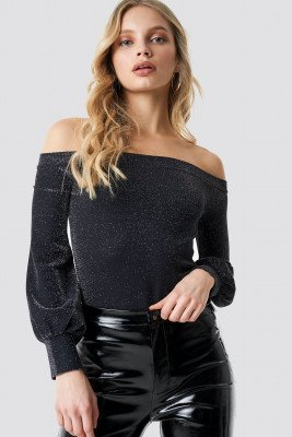 NA-KD Party Off Shoulder Glittery Top - Black