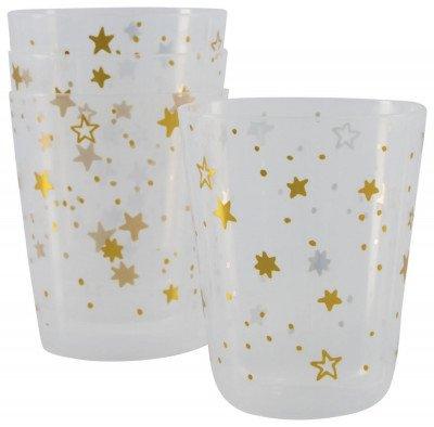 HEMA HEMA Plastic Bekers Herbruikbaar Ø7.5x9 Gouden Sterren - 4 Stuks (goud)