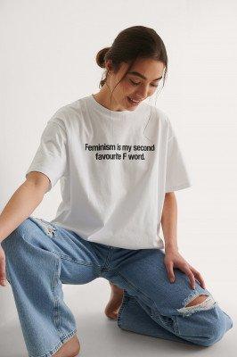 NA-KD NA-KD Organisch Women's Day T-shirt - White