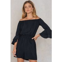 Trendyol Off Shoulder Frill Sleeve Romper - Black