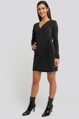 NA-KD Party NA-KD Party Gathered Shoulder Glittery Dress - Black