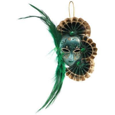 Firawonen.nl Venetian mask green hang face with feather