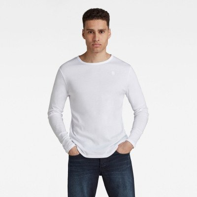 G-Star RAW Basic Round Neck Long Sleeve T-Shirt - Wit - Heren