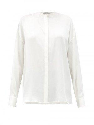 Matchesfashion Haider Ackermann - Dali Stand-collar Silk Shirt - Womens - Ivory