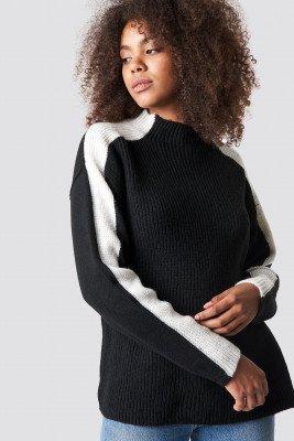 Trendyol Trendyol Side Stripe High Neck Jumper - Black