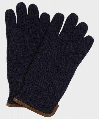 Michaelis Michaelis heren gebreide handschoenen met suède navy