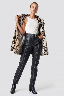 NA-KD Trend NA-KD Trend Contrast Seam Belted PU Pants - Black