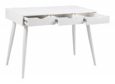 Bendt Bureau / sidetable 'Märta' 110 x 50cm met 3 laden , kleur wit / wit