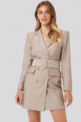 NA-KD Classic NA-KD Classic Wide Belt Blazer Dress - Beige