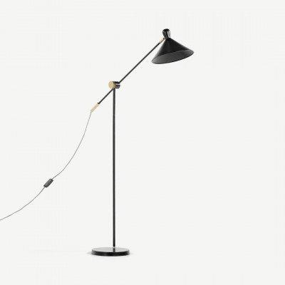 MADE.COM Ogilvy staande lamp, mat zwart en messing