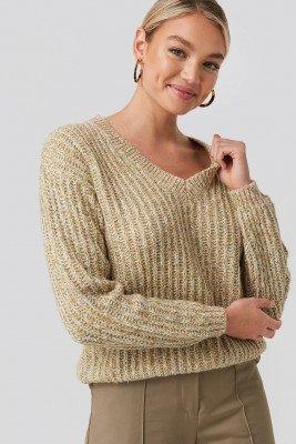 NA-KD NA-KD Multi Color V-neck Knitted Sweater - Beige