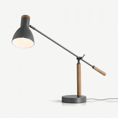 MADE.COM Cohen tafellamp, diepgrijs en Amerikaanse eik
