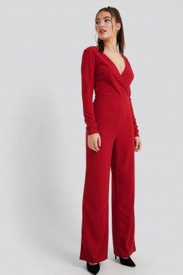 NA-KD Overlap Wide Leg Jumpsuit - Red