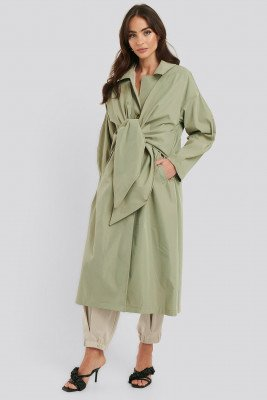 NA-KD Trend Tie Front Trench Coat - Green