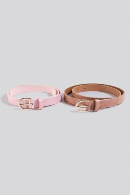 NA-KD Accessories Double Pack Slim Belts - Pink,Beige